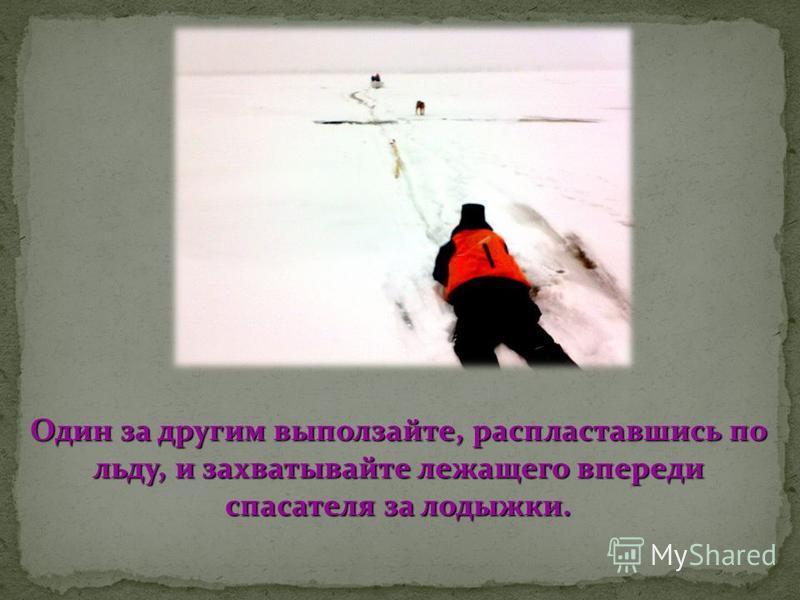 Один за другим выползайте, распластавшись по льду, и захватывайте лежащего впереди спасателя за лодыжки.