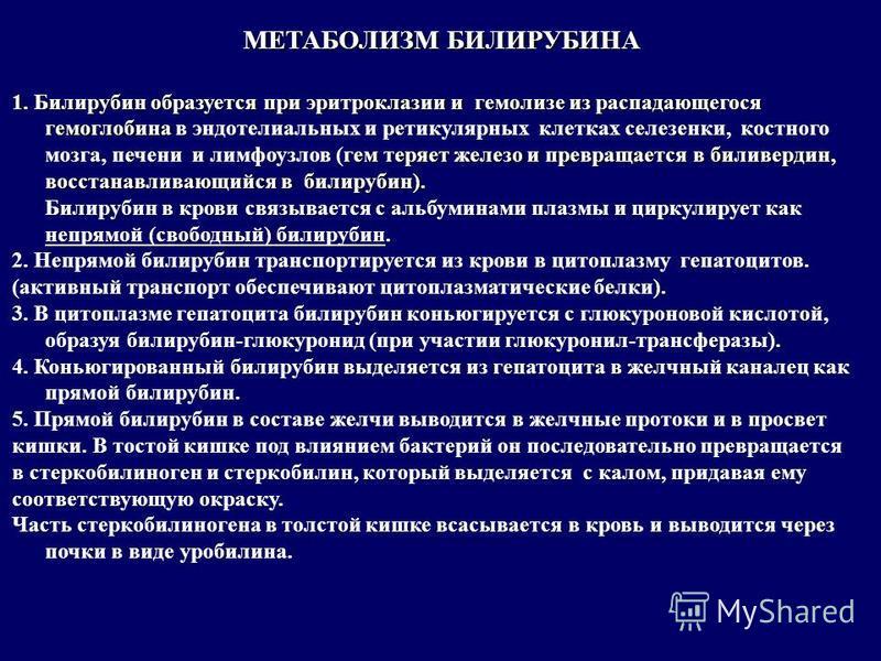 МЕТАБОЛИЗМ БИЛИРУБИНА 1. Билирубин образуется при эритроклазии и гемолизе из распадающегося гемоглобина гем теряет железо и превращается в биливердин, восстанавливающийся в билирубин). 1. Билирубин образуется при эритроклазии и гемолизе из распадающе