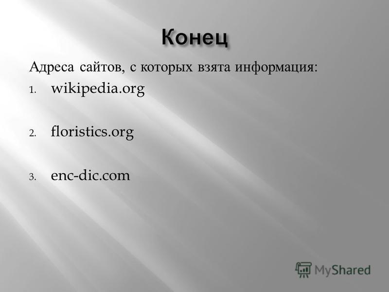 Адреса сайтов, с которых взята информация : 1. wikipedia.org 2. floristics.org 3. enc-dic.com