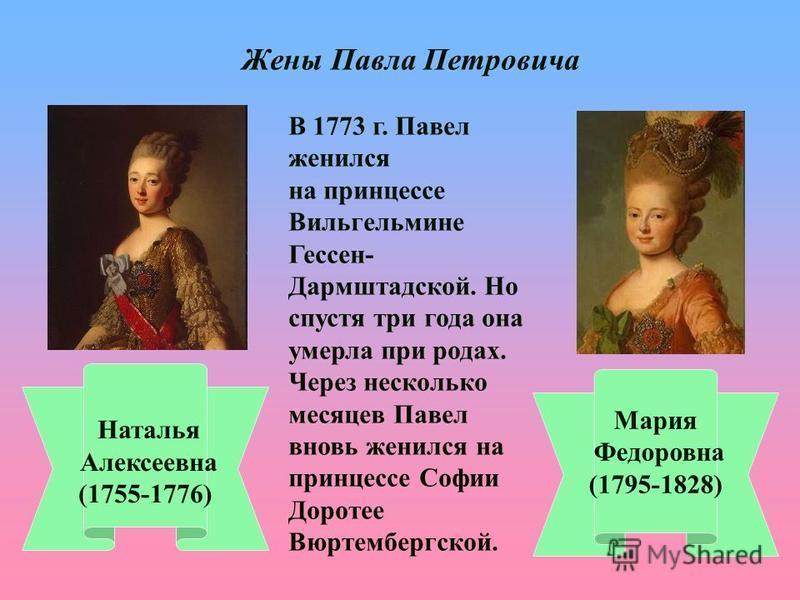 Жены Павла Петровича Наталья Алексеевна (1755-1776) Мария Федоровна (1795-1828) В 1773 г. Павел женился на принцессе Вильгельмине Гессен- Дармштадской. Но спустя три года она умерла при родах. Через несколько месяцев Павел вновь женился на принцессе
