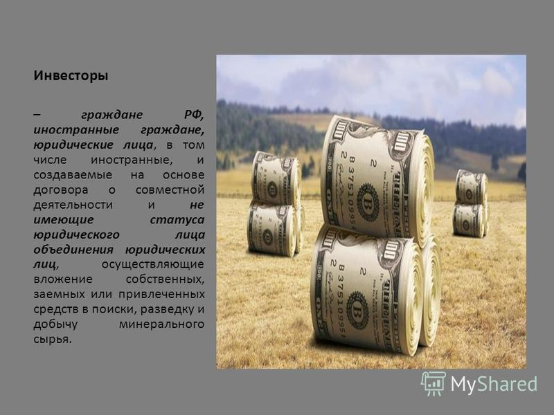 Инвесторы – граждане РФ, иностранные граждане, юридические лица, в том числе иностранные, и создаваемые на основе договора о совместной деятельности и не имеющие статуса юридического лица объединения юридических лиц, осуществляющие вложение собственн
