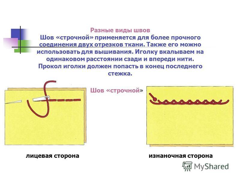 Разные виды швов Шов «строчной» применяется для более прочного соединения двух отрезков ткани. Также его можно использовать для вышивания. Иголку вкалываем на одинаковом расстоянии сзади и впереди нити. Прокол иголки должен попасть в конец последнего