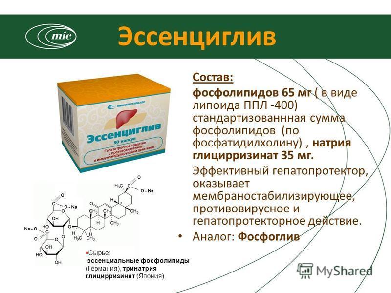 Эссенциглив Состав: фосфолипидов 65 мг ( в виде липоида ППЛ -400) стандартизованная сумма фосфолипидов (по фосфатидилхолину), натрия глицирризинат 35 мг. Эффективный гепатопротектор, оказывает мембраностабилизирующее, противовирусное и гепатопротекто