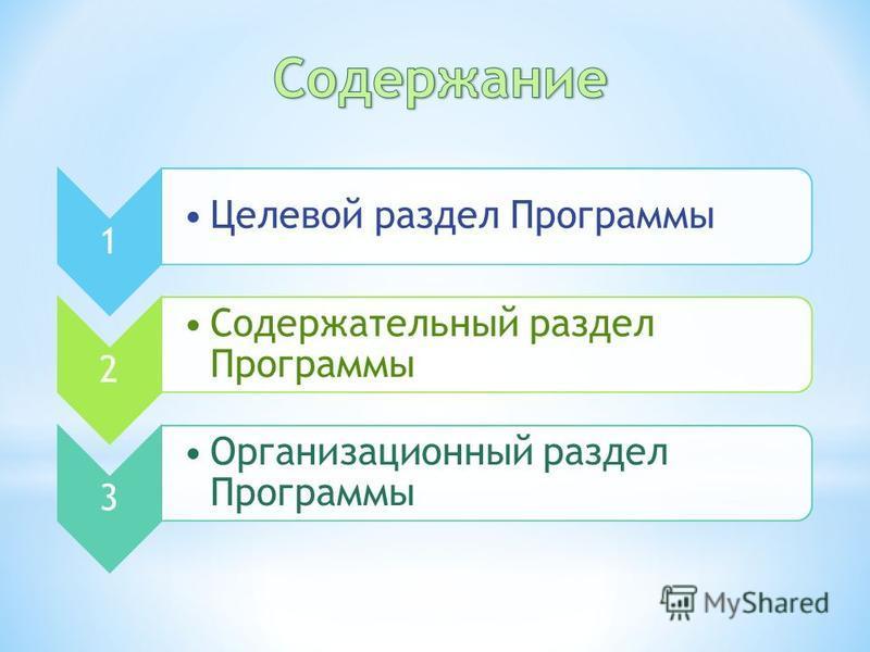 1 Целевой раздел Программы 2 Содержательный раздел Программы 3 Организационный раздел Программы
