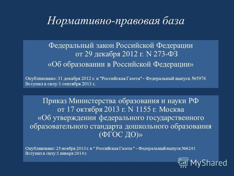 Нормативно-правовая база Федеральный закон Российской Федерации от 29 декабря 2012 г. N 273-ФЗ «Об образовании в Российской Федерации» Опубликовано: 31 декабря 2012 г. в