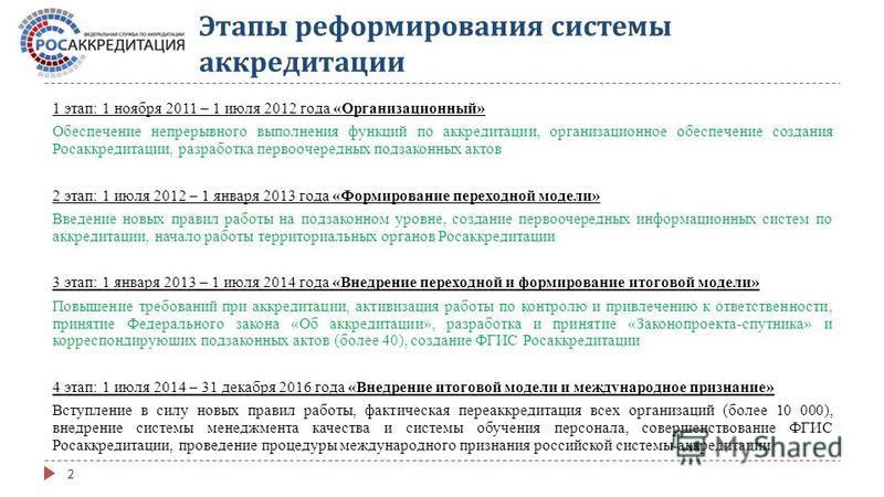 Этапы реформирования системы аккредитации 1 этап: 1 ноября 2011 – 1 июля 2012 года «Организационный» Обеспечение непрерывного выполнения функций по аккредитации, организационное обеспечение создания Росаккредитации, разработка первоочередных подзакон