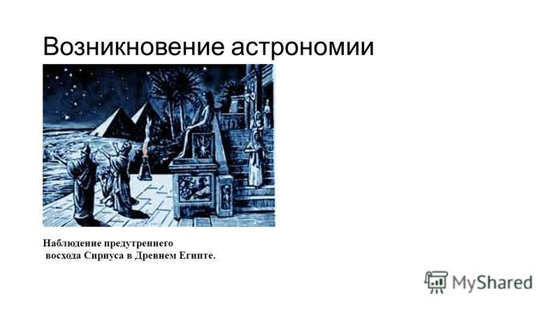 Возникновение астрономии Наблюдение предутреннего восхода Сириуса в Древнем Египте.