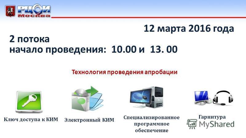 12 марта 2016 года 2 потока начало проведения: 10.00 и 13. 00 Ключ доступа к КИМ Специализированное программное обеспечение Электронный КИМ Технология проведения апробации Гарнитура
