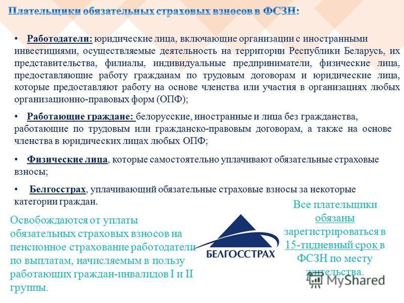 Работодатели: юридические лица, включающие организации с иностранными инвестициями, осуществляемые деятельность на территории Республики Беларусь, их представительства, филиалы, индивидуальные предприниматели, физические лица, предоставляющие работу