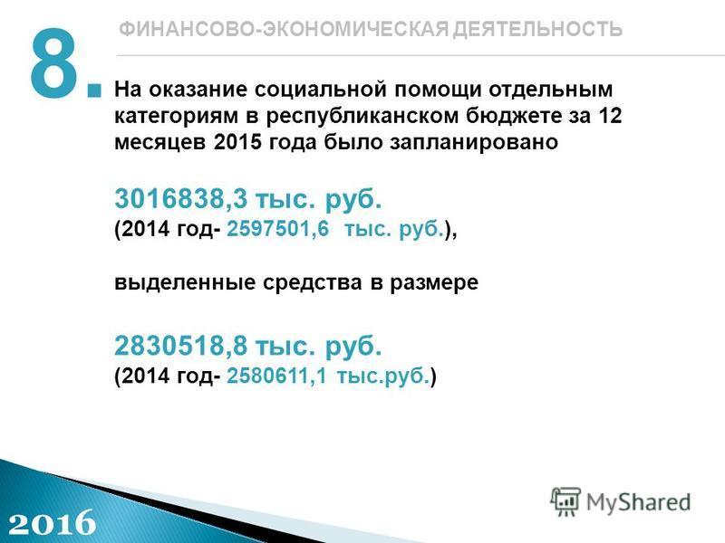 На оказание социальной помощи отдельным категориям в республиканском бюджете за 12 месяцев 2015 года было запланировано 3016838,3 тыс. руб. (2014 год- 2597501,6 тыс. руб.), выделенные средства в размере 2830518,8 тыс. руб. (2014 год- 2580611,1 тыс.ру