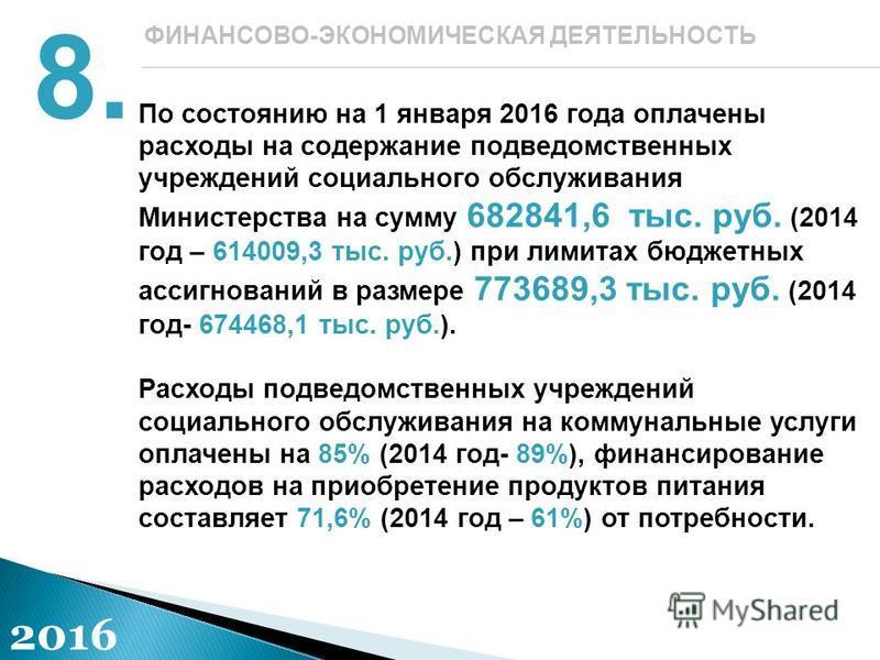 По состоянию на 1 января 2016 года оплачены расходы на содержание подведомственных учреждений социального обслуживания Министерства на сумму 682841,6 тыс. руб. (2014 год – 614009,3 тыс. руб.) при лимитах бюджетных ассигнований в размере 773689,3 тыс.