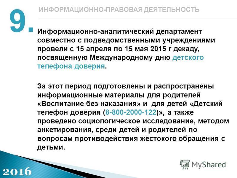 Информационно-аналитический департамент совместно с подведомственными учреждениями провели с 15 апреля по 15 мая 2015 г декаду, посвященную Международному дню детского телефона доверия. За этот период подготовлены и распространены информационные мате