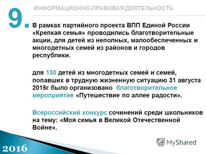 В рамках партийного проекта ВПП Единой России «Крепкая семья» проводились благотворительные акции, для детей из неполных, малообеспеченных и многодетных семей из районов и городов республики. для 130 детей из многодетных семей и семей, попавших в тру