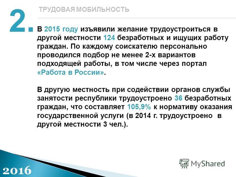 В 2015 году изъявили желание трудоустроиться в другой местности 124 безработных и ищущих работу граждан. По каждому соискателю персонально проводился подбор не менее 2-х вариантов подходящей работы, в том числе через портал «Работа в России». В другу