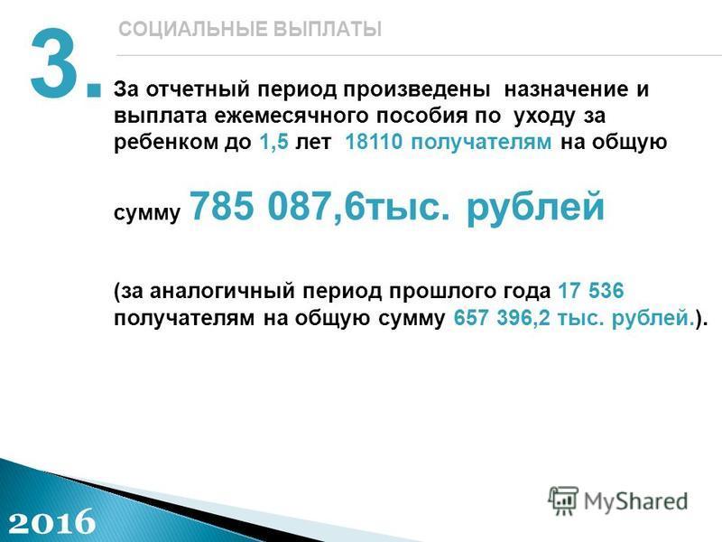 За отчетный период произведены назначение и выплата ежемесячного пособия по уходу за ребенком до 1,5 лет 18110 получателям на общую сумму 785 087,6 тыс. рублей (за аналогичный период прошлого года 17 536 получателям на общую сумму 657 396,2 тыс. рубл