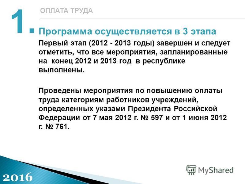 Программа осуществляется в 3 этапа Первый этап (2012 - 2013 годы) завершен и следует отметить, что все мероприятия, запланированные на конец 2012 и 2013 год в республике выполнены. Проведены мероприятия по повышению оплаты труда категориям работников