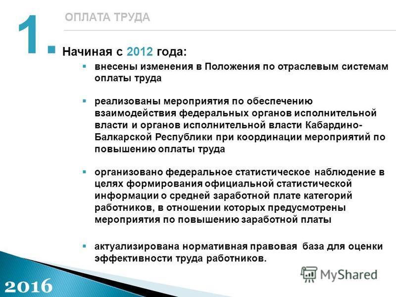 Начиная с 2012 года: внесены изменения в Положения по отраслевым системам оплаты труда реализованы мероприятия по обеспечению взаимодействия федеральных органов исполнительной власти и органов исполнительной власти Кабардино- Балкарской Республики пр