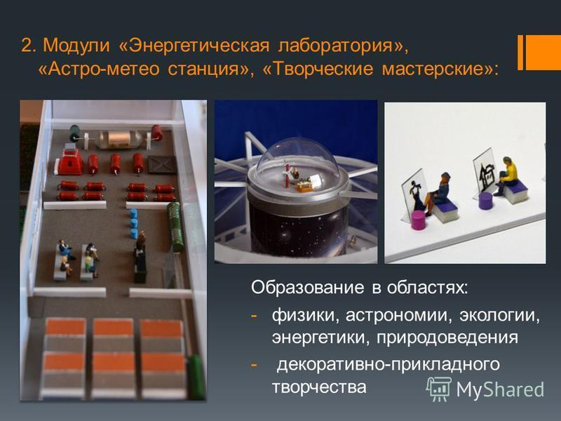 2. Модули «Энергетическая лаборатория», «Астро-метеостанция», «Творческие мастерские»: Образование в областях: -физики, астрономии, экологии, энергетики, природоведения - декоративно-прикладного творчества