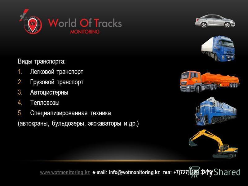 www.wotmonitoring.kzwww.wotmonitoring.kz е-mail: info@wotmonitoring.kz тел: +7(727) 329 32 79 Виды транспорта: 1. Легковой транспорт 2. Грузовой транспорт 3. Автоцистерны 4. Тепловозы 5. Специализированная техника (автокраны, бульдозеры, экскаваторы