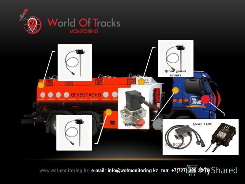 www.wotmonitoring.kzwww.wotmonitoring.kz е-mail: info@wotmonitoring.kz тел: +7(727) 329 32 79 Датчик уровня топлива Трекер + БИС Расходомер