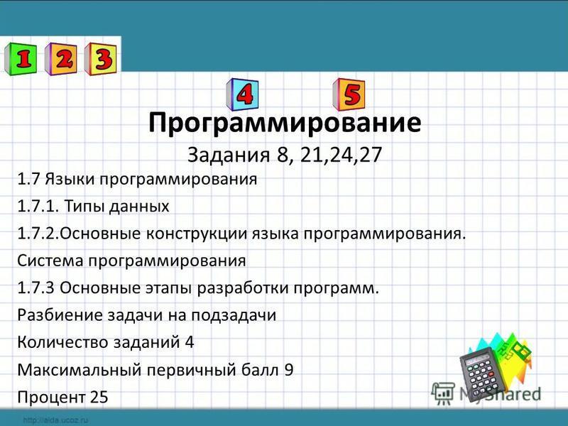 1.7 Языки программирования 1.7.1. Типы данных 1.7.2. Основные конструкции языка программирования. Система программирования 1.7.3 Основные этапы разработки программ. Разбиение задачи на подзадачи Количество заданий 4 Максимальный первичный балл 9 Проц