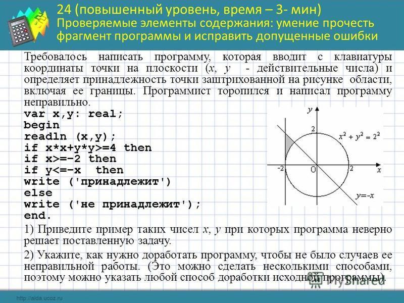 24 (повышенный уровень, время – 3- мин) Проверяемые элементы содержания: умение прочесть фрагмент программы и исправить допущенные ошибки Требовалось написать программу, которая вводит с клавиатуры координаты точки на плоскости (x, y - действительные