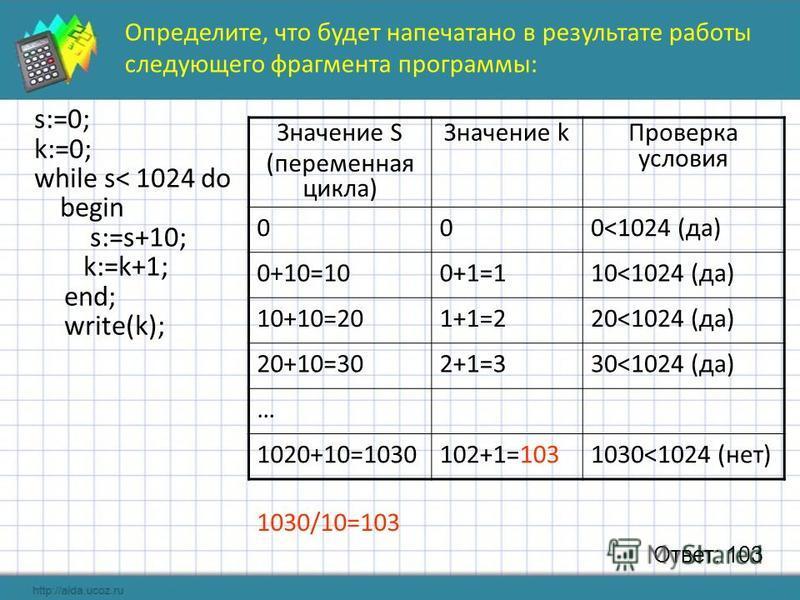 Значение S (переменная цикла) Значение k Проверка условия 000<1024 (да) 0+10=100+1=110<1024 (да) 10+10=201+1=220<1024 (да) 20+10=302+1=330<1024 (да) … 1020+10=1030102+1=1031030<1024 (нет) Ответ: 103 1030/10=103 s:=0; k:=0; while s< 1024 do begin s:=s