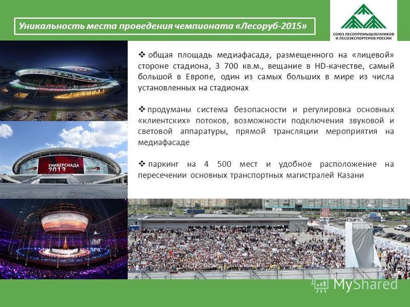 Уникальность места проведения чемпионата «Лесоруб-2015» общая площадь медиа фасада, размещенного на «лицевой» стороне стадиона, 3 700 кв.м., вещание в HD-качестве, самый большой в Европе, один из самых больших в мире из числа установленных на стадион