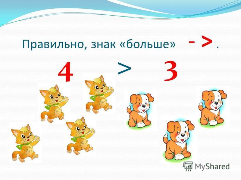 Правильно, знак «больше» - >. 4 > 3