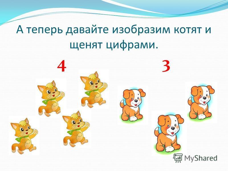 А теперь давайте изобразим котят и щенят цифрами. 4 3