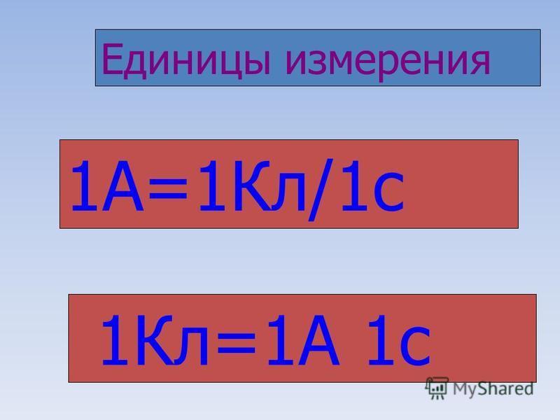 1А=1Кл/1 с 1Кл=1А 1 с Единицы измерения