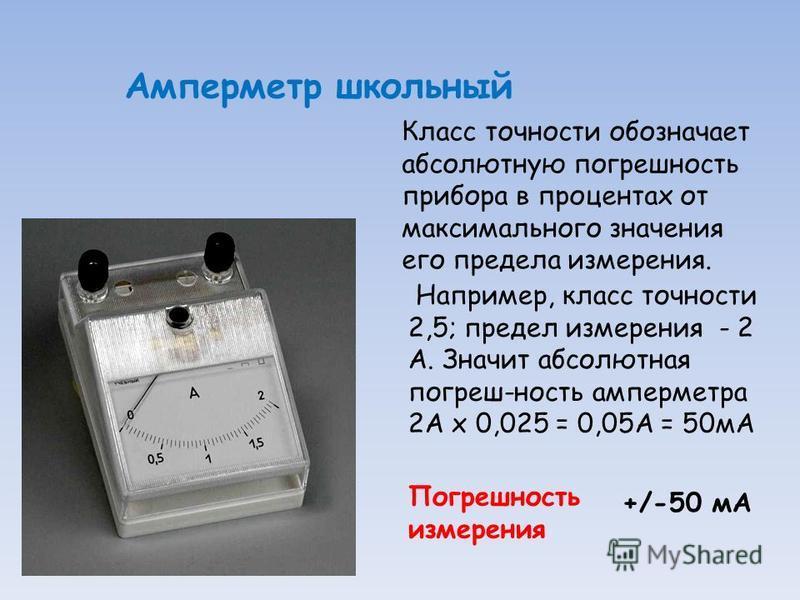 Амперметр школьный Класс точности обозначает абсолютную погрешность прибора в процентах от максимального значения его предела измерения. Погрешность измерения +/-50 мА Например, класс точности 2,5; предел измерения - 2 А. Значит абсолютная погреш-нос