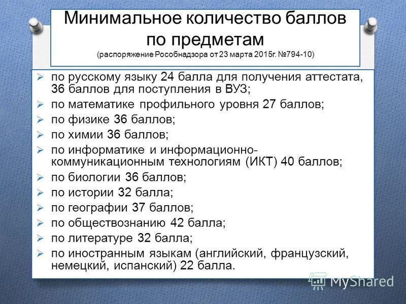 Минимальное количество баллов по предметам (распоряжение Рособнадзора от 23 марта 2015 г. 794-10) по русскому языку 24 балла для получения аттестата, 36 баллов для поступления в ВУЗ; по математике профильного уровня 27 баллов; по физике 36 баллов; по