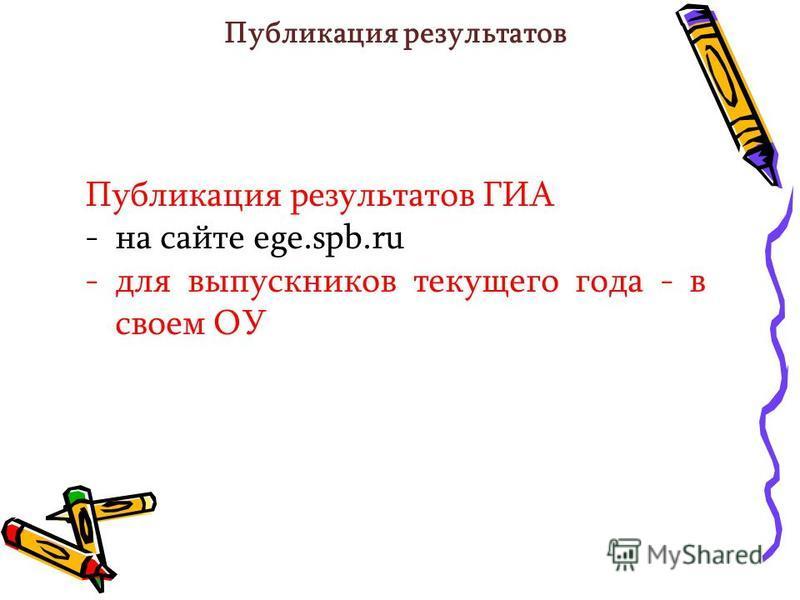 Публикация результатов Публикация результатов ГИА -на сайте ege.spb.ru -для выпускников текущего года - в своем ОУ