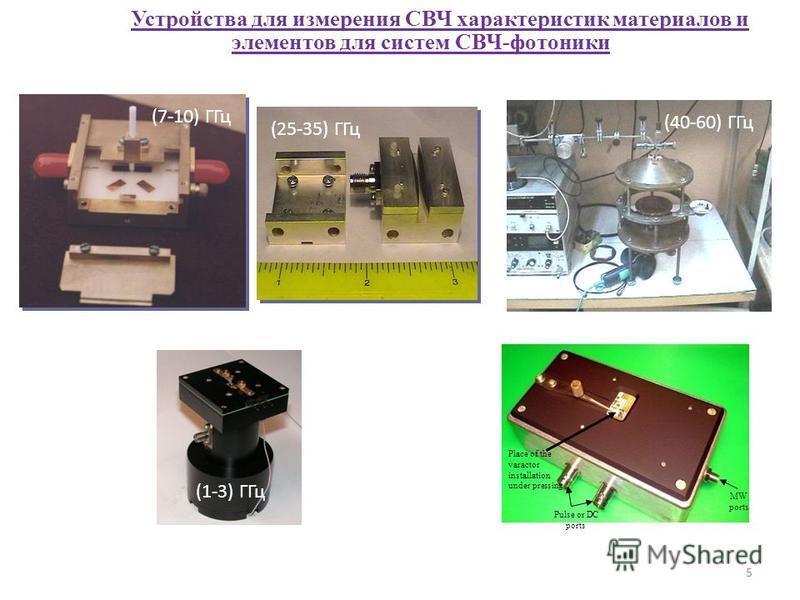 Устройства для измерения СВЧ характеристик материалов и элементов для систем СВЧ-фотоники Place of the varactor installation under pressing MW ports Pulse or DC ports (25-35) ГГц (40-60) ГГц (7-10) ГГц (1-3) ГГц 5