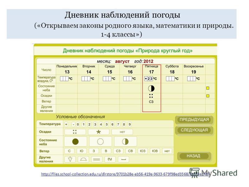 Дневник наблюдений погоды («Открываем законы родного языка, математики и природы. 1-4 классы») http://files.school-collection.edu.ru/dlrstore/9701b28e-eb56-419e-9633-679f98ed3568/ResFile.SWF