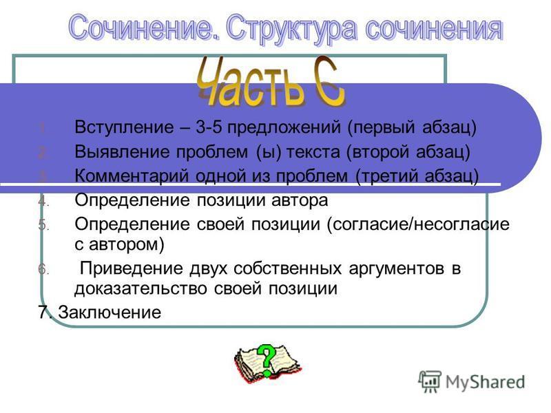 1. Вступление – 3-5 предложений (первый абзац) 2. Выявление проблем (ы) текста (второй абзац) 3. Комментарий одной из проблем (третий абзац) 4. Определение позиции автора 5. Определение своей позиции (согласие/несогласие с автором) 6. Приведение двух