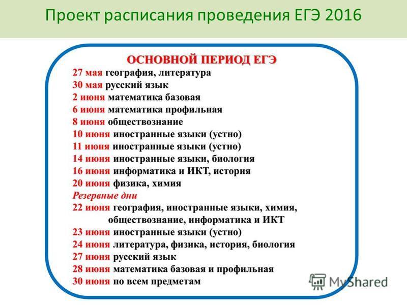 Проект расписания проведения ЕГЭ 2016