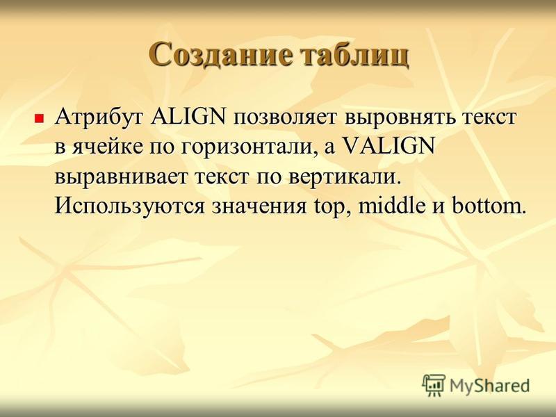 Создание таблиц Атрибут ALIGN позволяет выровнять текст в ячейке по горизонтали, а VALIGN выравнивает текст по вертикали. Используются значения top, middle и bottom. Атрибут ALIGN позволяет выровнять текст в ячейке по горизонтали, а VALIGN выравнивае