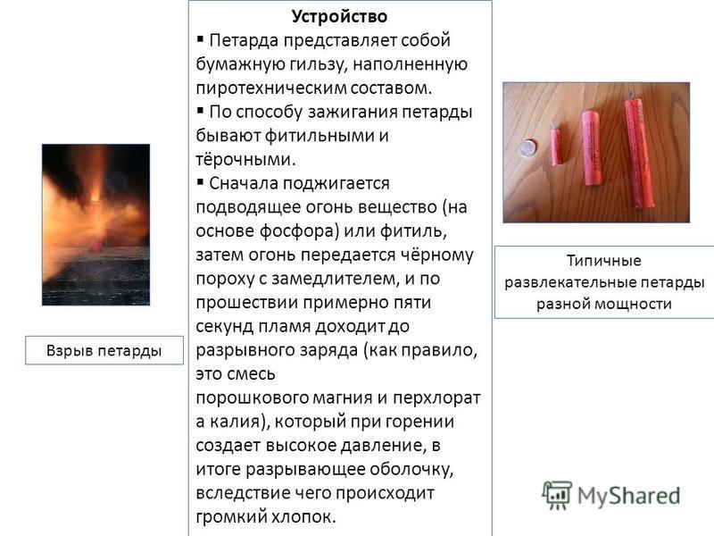 Типичные развлекательные петарды разной мощности Взрыв петарды Устройство Петарда представляет собой бумажную гильзу, наполненную пиротехническим составом. По способу зажигания петарды бывают фитильными и тёрочными. Сначала поджигается подводящее ого