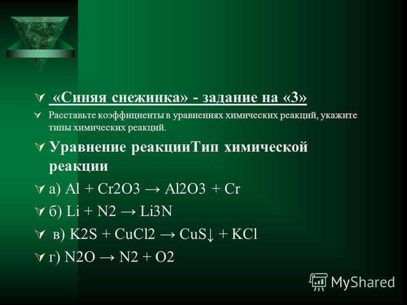 «Синяя снежинка» - задание на «3» Расставьте коэффициенты в уравнениях химических реакций, укажите типы химических реакций. Уравнение реакции Тип химической реакции а) Al + Cr2O3 Al2O3 + Cr б) Li + N2 Li3N в) K2S + CuCl2 CuS + KCl г) N2O N2 + O2