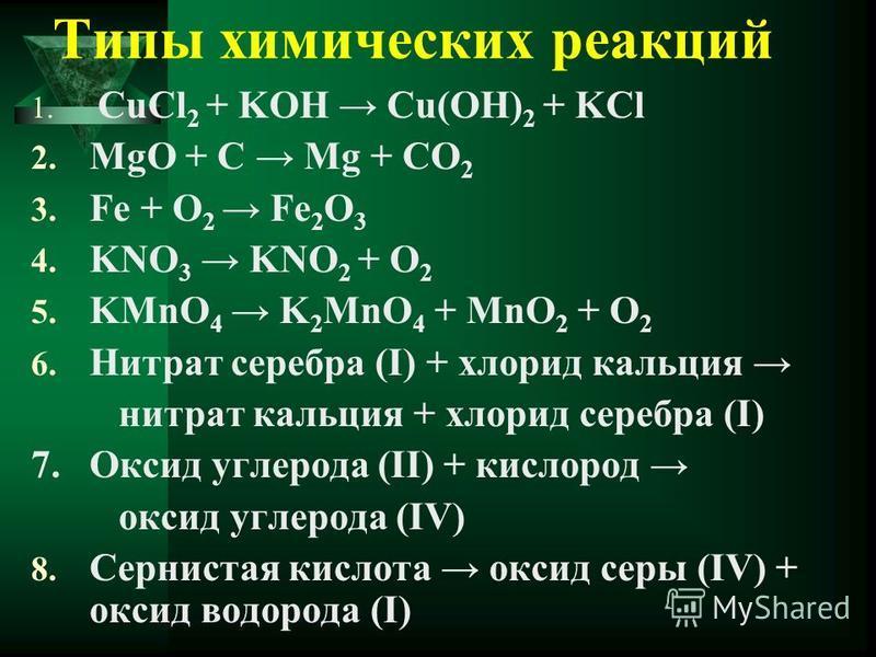 Типы химических реакций 1. СuCl 2 + KOH Cu(OH) 2 + KCl 2. MgO + C Mg + CO 2 3. Fe + O 2 Fe 2 O 3 4. KNO 3 KNO 2 + O 2 5. KMnO 4 K 2 MnO 4 + MnO 2 + O 2 6. Нитрат серебра (I) + хлорид кальция нитрат кальция + хлорид серебра (I) 7. Оксид углерода (II)