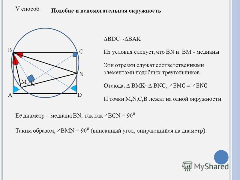 V способ. Подобие и вспомогательная окружность A B C M N K D BDC ~BAK Из условия следует, что BN и BM - медианы Эти отрезки служат соответственными элементами подобных треугольников. Отсюда, BMK~ BNC, BMC = BNC И точки M,N,C,B лежат на одной окружнос
