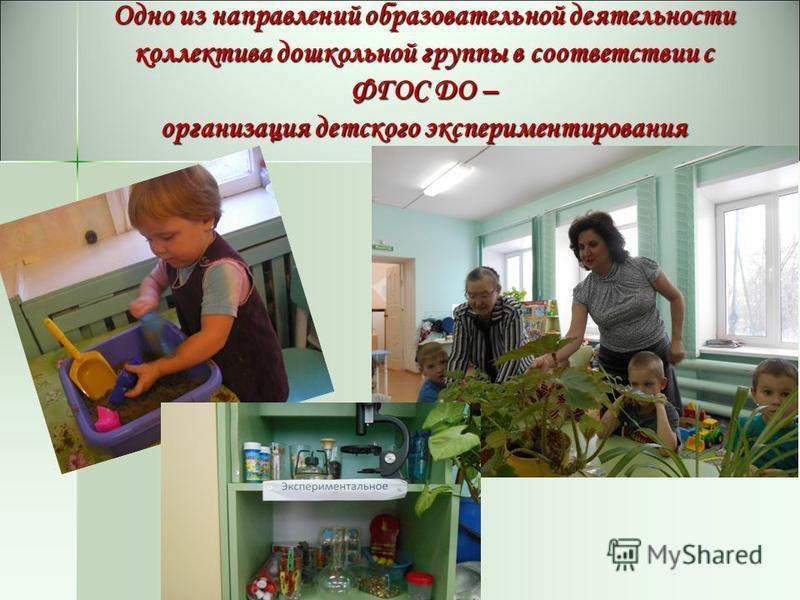 Одно из направлений образовательной деятельности коллектива дошкольной группы в соответствии с ФГОС ДО – организация детского экспериментирования