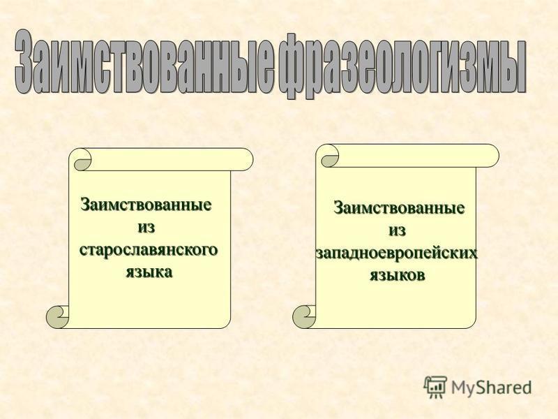 Заимствованныеизстарославянского языка языка Заимствованныеиззападноевропейскихязыков