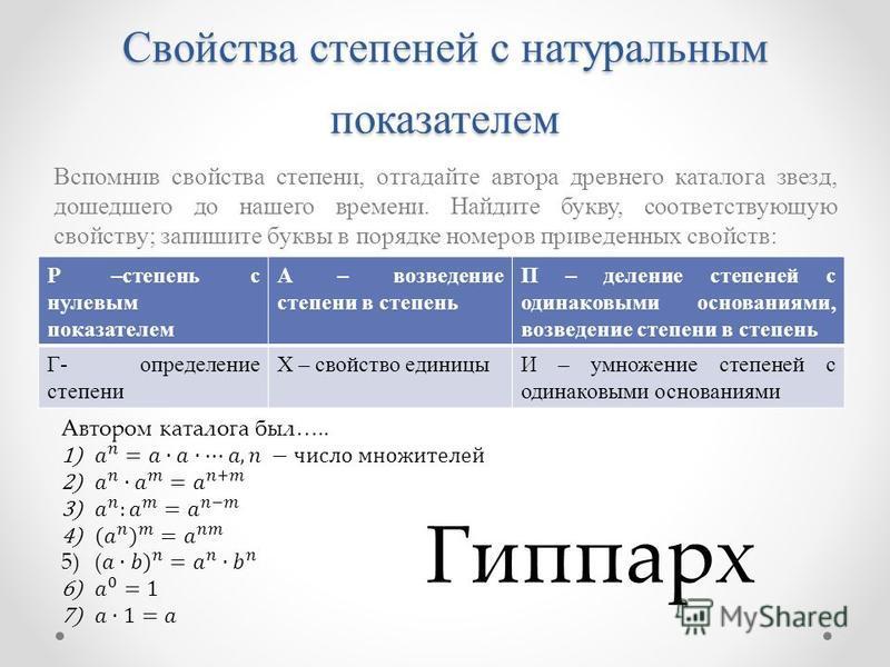 Свойства степеней с натуральным показателем Вспомнив свойства степени, отгадайте автора древнего каталога звезд, дошедшего до нашего времени. Найдите букву, соответствующую свойству; запишите буквы в порядке номеров приведенных свойств: Р –степень с