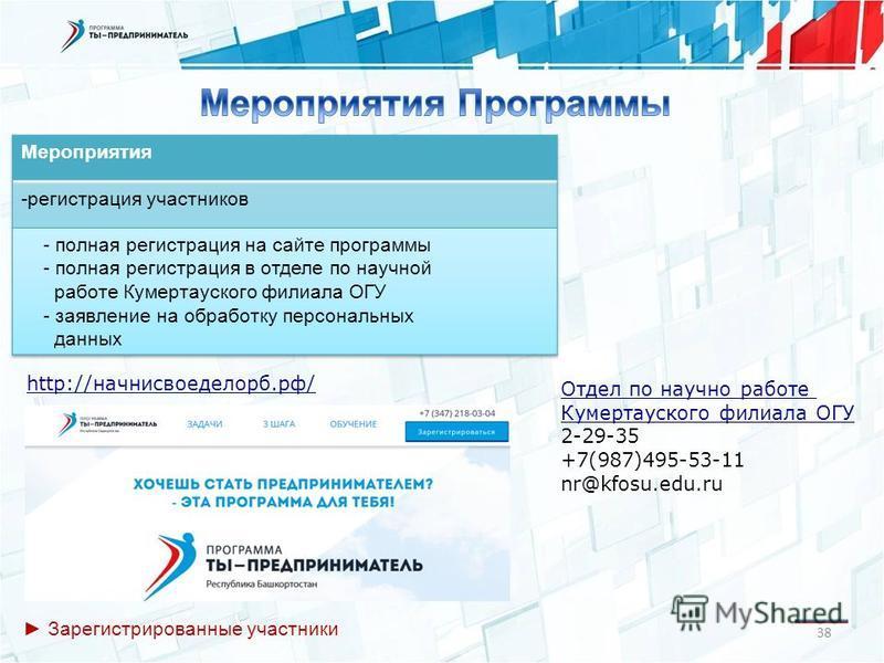 38 http://начнисвоеделорб.рф/ Отдел по научно работе Кумертауского филиала ОГУ 2-29-35 +7(987)495-53-11 nr@kfosu.edu.ru Зарегистрированные участники