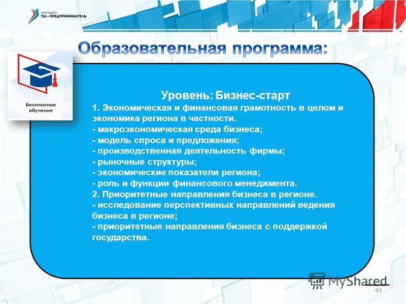 Уровень: Бизнес-старт 1. Экономическая и финансовая грамотность в целом и экономика региона в частности. - макроэкономическая среда бизнеса; - модель спроса и предложения; - производственная деятельность фирмы; - рыночные структуры; - экономические п