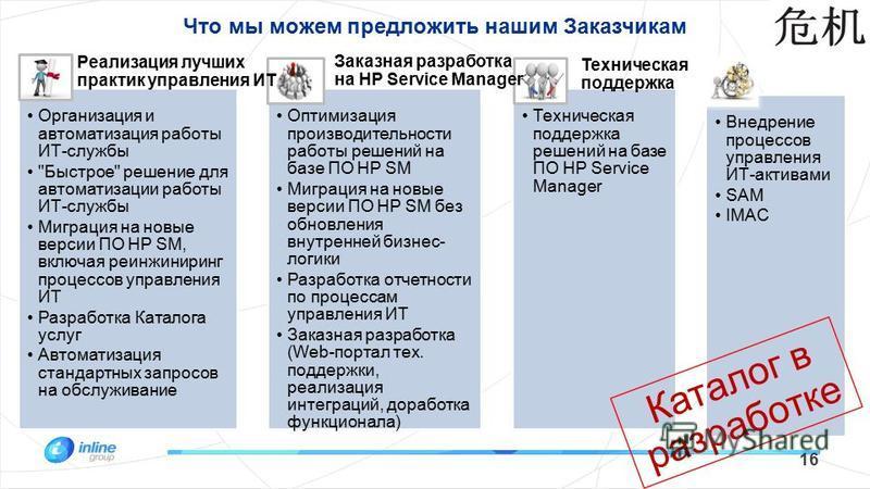 Что мы можем предложить нашим Заказчикам 16 Организация и автоматизация работы ИТ-службы