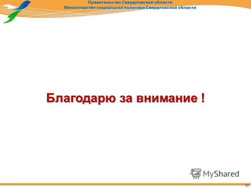 Правительство Свердловской области Министерство социальной политики Свердловской области Благодарю за внимание ! 52